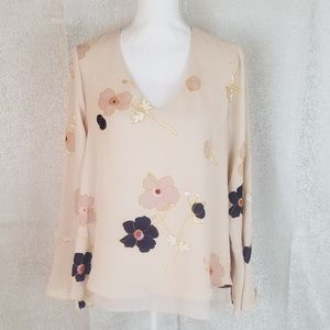 Lauren Conrad Floral Bell Sleeve V Neck Blouse